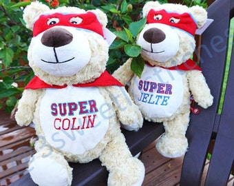 "Personalized ""SUPER HERO"" Teddy Bear Plush Stuffed Animal Cubbie with Red Cape, Custom Embroidery, Baby Child Keepsake Gift, Birth Stats"