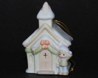 "Precious Moments Christmas Ornament ""Chapel"" -Sugartown Chapel W/ Sam Standing Outside Waving, Insert Christmas Light In Back To Illuminate"