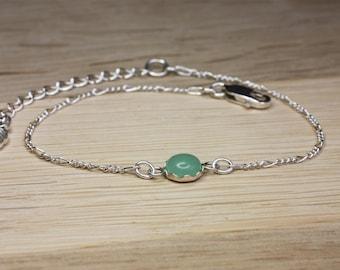 Green Aventurine Silver Chain Bracelet, sterling silver