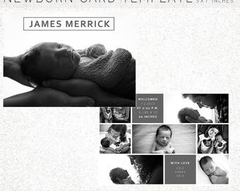 BIRTH ANNOUNCEMENT TEMPLATE, Birth Announcement, Newborn Announcement, Newborn, 5X7 Photoshop Template, Instant Download