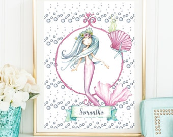 Mermaid Print Sign Nursery Print A4 Physical Print Girls Name Room Wall Print Under The Sea  Pink Shells Art Gift Idea Christmas Gift