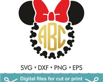 Disney Svg / Mickey Mouse svg / Minnie Mouse Svg / Disney / Monogram Svg / Frame Cut Files - Svg DXF Silhouette Studio Cricut