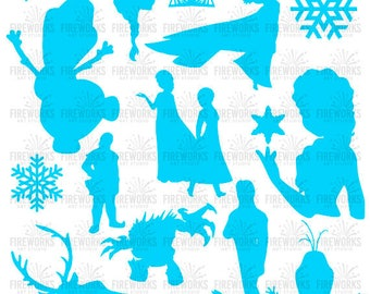 Frozen SVG files, Frozen Silhouettes, Frozen Anna, Elsa & Olaf Silhouettes Svg File, SVG DXF Png Eps Jpg files - Let it Go - Disney Inspired