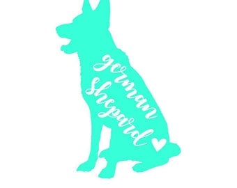 German Shepard Sitting Decal | Dog Decal | Pet Decal | Personalized Decal | Yeti Cup Decal | Car Decal | Laptop Sticker | Window Decal