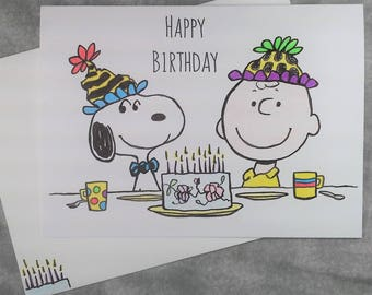 """Hand Drawn Charlie Brown & Snoopy Happy Birthday card 5"""" x 7"""" with Embellished Envelope - Free Shipping"""