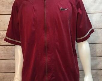 Rare 80s white tag Nike full zip warm up jersey shirt
