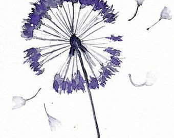 ACEO Original Flower Watercolor painting,Miniature painting,Dandelion seeds,Free Shipping,Floral art,minimalist art,home decor,wall art,gift