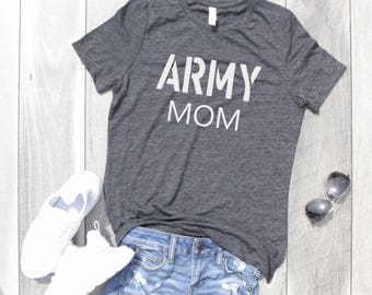 Army Mom Relaxed Jersey T-Shirt, Funny Shirt, Gym Shirt, Workout Shirt, Army Shirt