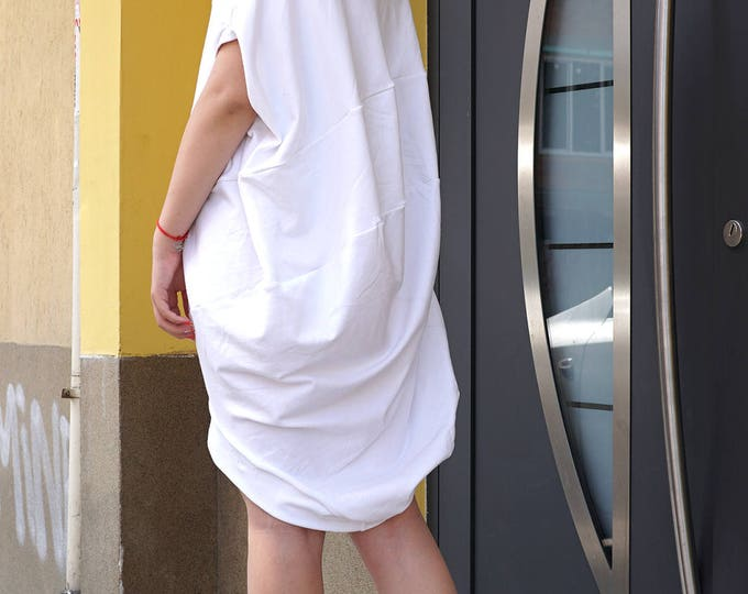 Cocoon White Summer Dress Tunic | Relaxed Baggy Asymmetric Dress | Loose Fit Bio Cotton Tunic | Oversized Maternity Made Dress Tunic