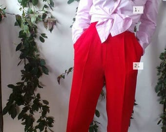 Vintage High Waisted Pleated Pants Trouser, High Rise Wool Pants, Vintage Calvin Klein tie front Shirt, Calvin Klein Button Down Shirt