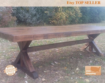Farm Table, Farm House Table, Trestle Table, Dine Room Table, Dining Table