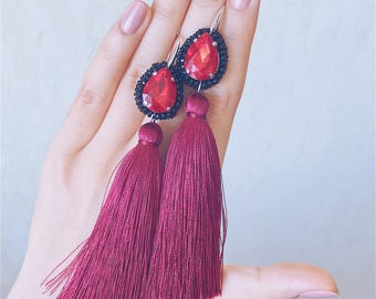 20%OFF Burgundy tassels earrings