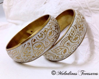Vintage Gold and white Bangles with Embossed Enamel Floral Pattern. - Boho Style Retro Jewellery