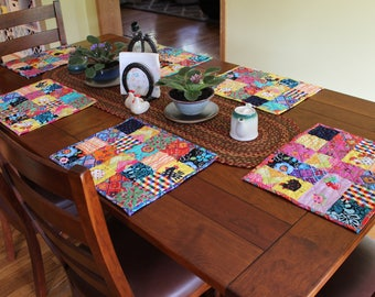Quilted crazy patchwork placemats **Made to Order ONLY**