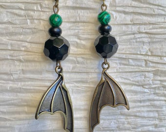 Gothic Bat Wing Beaded Earrings, Bronze Bat Wing Earrings,Bat Earrings, Bat Jewelry, Gothic Earrings,Halloween Earrings, Halloween Jewelry