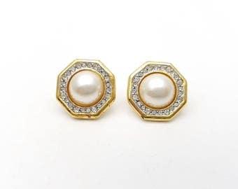 Vintage Octagon Rhinestone Frame Pierced Earrings Half Faux Pearl Gold Tone Metal Stud Geometric Mod Retro Classic Feminine Statement