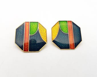 Vintage Octagonal Pierced Earrings Colorful Enamel on Gold Tone Metal Stud Geometric Modernist Mod Retro Classic Feminine Statement