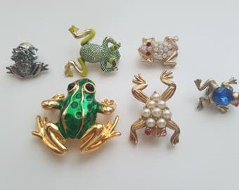 One of a Kind-Vintage and Unique! Frog/Animal/Insect Pins and Brooches! Rhinestone/Raw Stone/Bead/Crystal Accents-Beautiful Retro Condition!