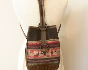 Anna Cainzo Wool Tapestry & Tooled Leather Backpack Handbag
