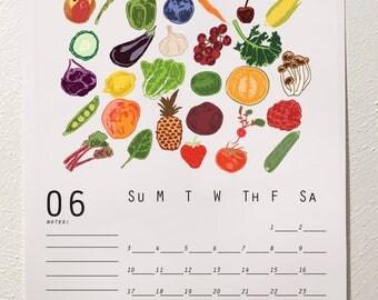 2018 Garden Calendar, Desk Calendar, 2018 Wall Calendar, Meal Planner, Monthly Calendar, Illustrated Calendar, Food Calendar, DIY Calendar