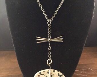 Dalmation Jasper Stone on Oxidized Sterling Silver Chain