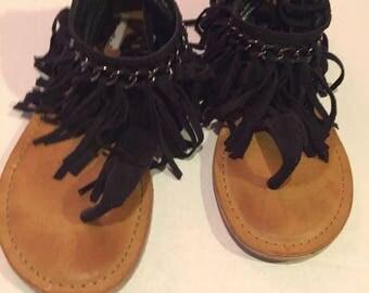 Hippie boho fringed vintage sandals thong sandal open toed sandals