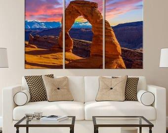 Large 3 Panels Wall Art Nature Canvas Print - Earth's Amazing Natural Arch on Canvas, Nature Canvas Art, Housewarming Gift, Home Decoration