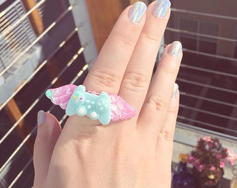 Gamer Jewelry Pastel Blue Fairy Kei Healer Game Controller Ring