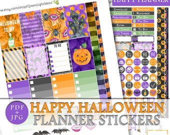 Halloween Happy Planner Stickers, Halloween Printable Sticker Kit Happy Planner, October Happy Planner Weekly Kit, Halloween Mambi Printable