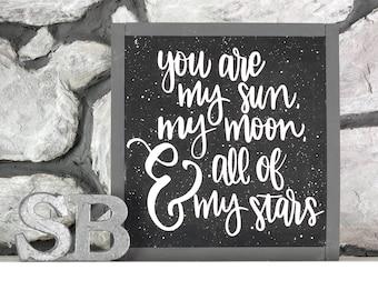 Sun, Moon, Stars Sign - Kids Room Decor - Nursery Decor - Home Decor - Nursery Wall Art - Love Sign -  Nursery Wood Sign - Wedding Sign