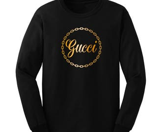 Gucci Unisex Black Long Sleeve Shirt with Metallic Gold Lettering