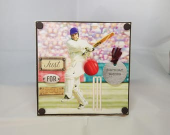 3D Box Birthday Card - Cricket - luxury personalised unique quality special bespoke UK - Dad/Son/Uncle/Brother/Nephew/Granddad