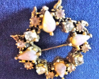 Vintage Opal Pin with Rhinestones