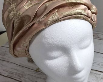 DON ANDERSON NY vintage ladies turban style hat pink gold brocade