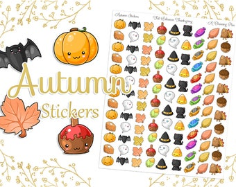 Autumn Stickers - Fall Halloween Thanksgiving - Instant Download