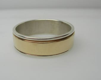 Ladies Silver / 14k Channel Band.