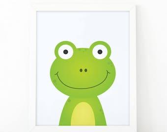 Frog Print, wall Art Print, Instant download, Nursery print, Kids Print, animal Nursery Decor, animals wall art, Animal Nursery Printable