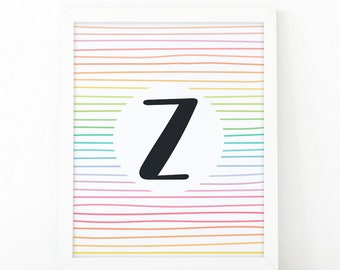 Letter Z, Initial wall art, Colorful  Stripes, initial Printable, Colors, Nursery Initial Print, Instant download, initial print, printable