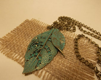 Antique Brass Leaf Shaped Pendant and Chain