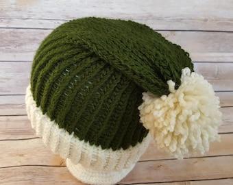 Elf Hat, Green Santa Hat, Elf Beanie Hat, Winter Hat, Green Christmas Hat, Christmas Hat, Slouchy Elf Hat, Knitted Elf Hat, Knit Elf Hat