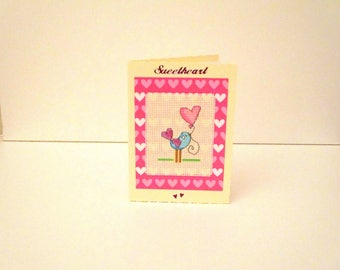 Sweetheart Card, Valentine's Day Card, Cross Stitch Card, Handmade Greetings Card, Partner Card, Stitched Wife Card, Husband Card, Birthday