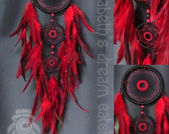 Dream catcher Dreamcatcher Black dreamcatcher Red feathers wall hanging wall decor Dream Catcher Wall indian style Dreamcatcher Gift