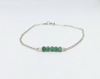 Emerald bracelet, 925 sterling silver emerald bracelet, natural emerald bracelet, silver emerald bracelet, dainty silver bracelet, emerald