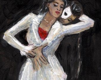 Phantom of the opera painting poster print phantom artwork andrew lloyd webber paintings prints art