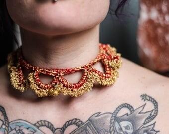 Gold & Red Crochet Decorative Choker