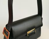 Yves Saint Laurent Vintage Black Leather Shoulder Bag  YSL Handbag
