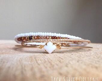 Bright White and Copper Bangles