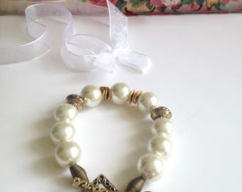 PEARLY BRACELET GOLD Heart Chunky Large Beads