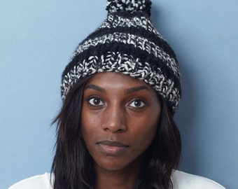 Womens Pom Pom Hat / Striped Winter Hat / Black and White Hat // THE GIBSON Free Shipping