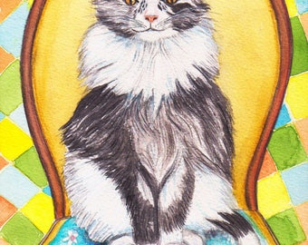 Original watercolor, sitting in a Chair, CatMoon Maine Coon cat